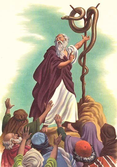 Moses with the bronze serpent