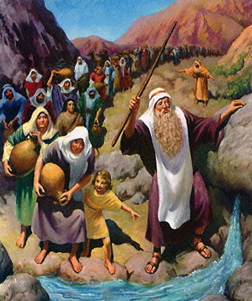 Moses striking the rock to provide water