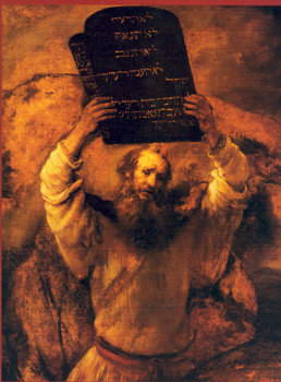 Moses receives the stone tablets